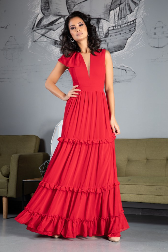 Rochie midi rosie eleganta Zonia