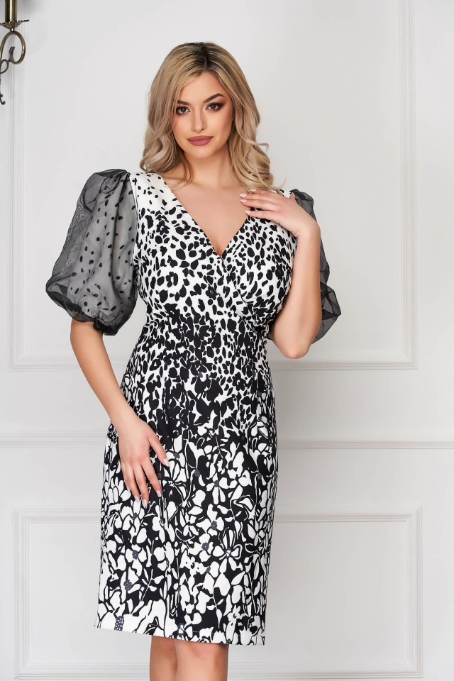 Rochie neagra eleganta midi tip creion din material subtire cu maneci bufante si decolteu in v