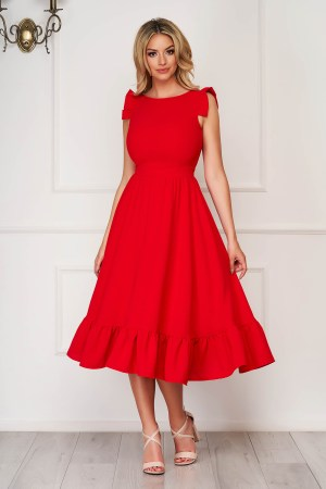Rochie rosie eleganta midi din stofa creponata cu volanase