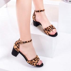 Sandale cu toc imprimeu leopard
