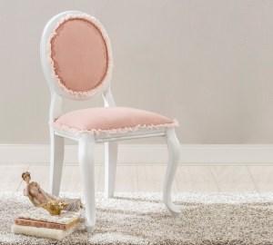 Scaun pentru copii tapitat cu stofa si picioare din lemn Dream Somon