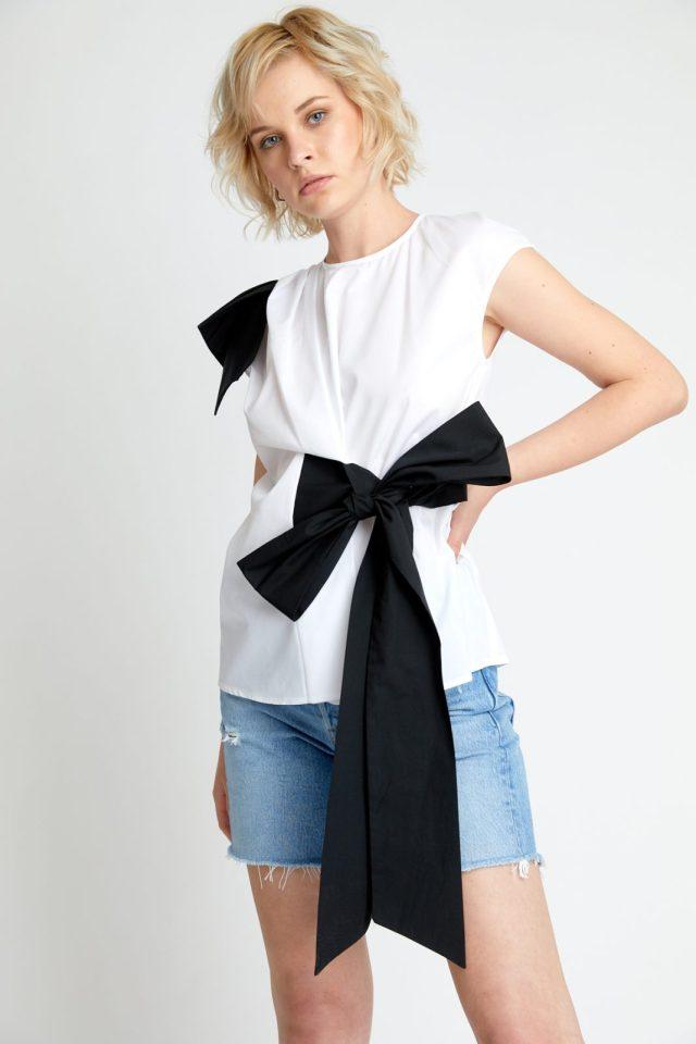 Bluza din bumbac cu funda neagra