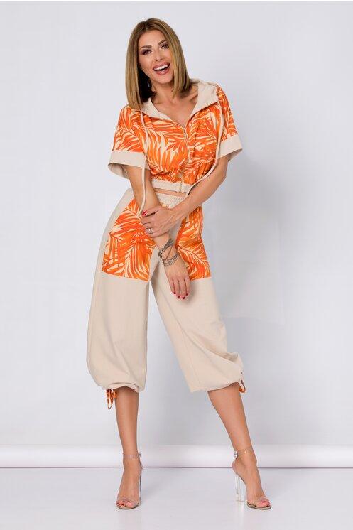 Compleu LaDonna by Catalin Botezatu beige imprimat cu frunze orange