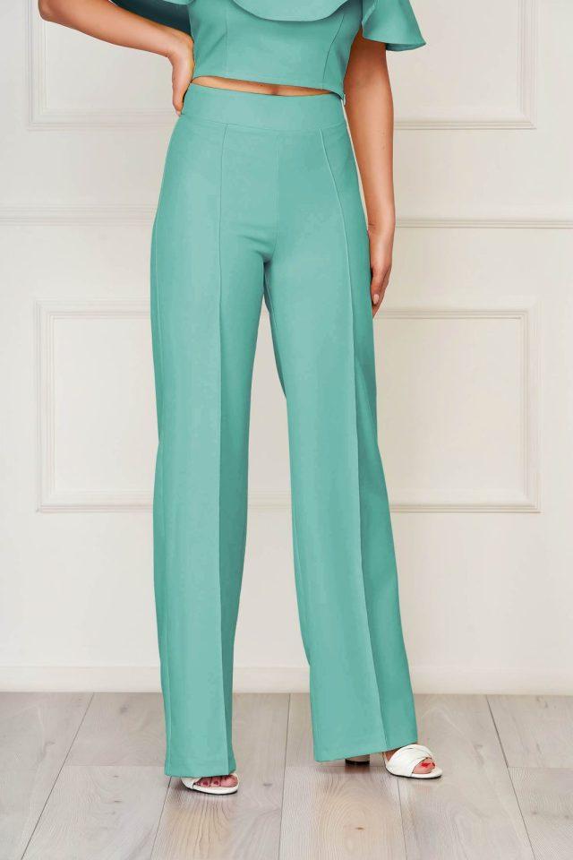 Pantaloni StarShinerS verzi eleganti lungi evazati din stofa elastica