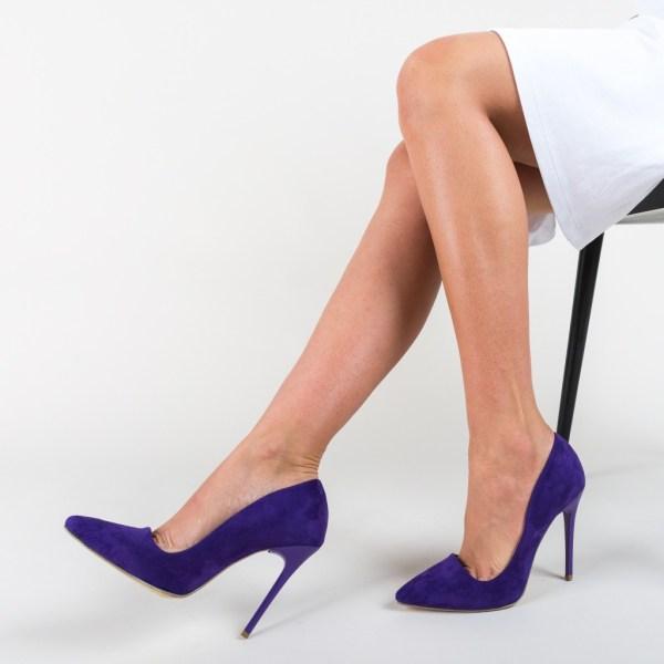 Pantofi mov din piele eco