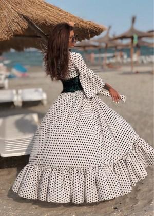 Pareo alb de plaja cu buline Foggi