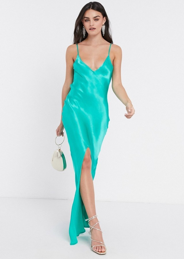 Pretty Lavish satin cami maxi dress with split in green