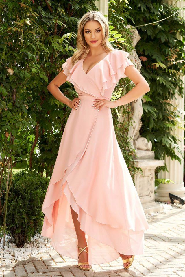 Rochie StarShinerS roz prafuit lunga asimetrica de ocazie in clos din voal cu volanase