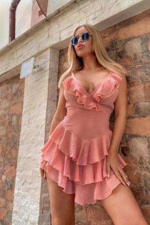 Rochie dama diafana SUPER SUMMER PARTY Sweet Pink cu spatele gol