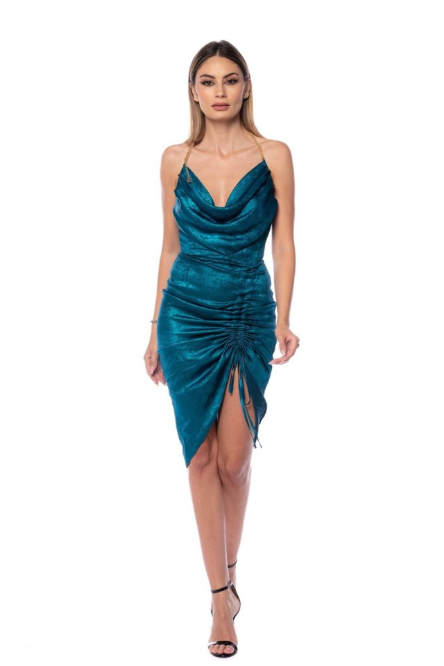 Rochie drapata midi Metalic Blue