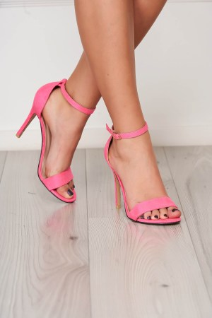 Sandale fuchsia elegante din material catifelat cu barete subtiri Starshiners