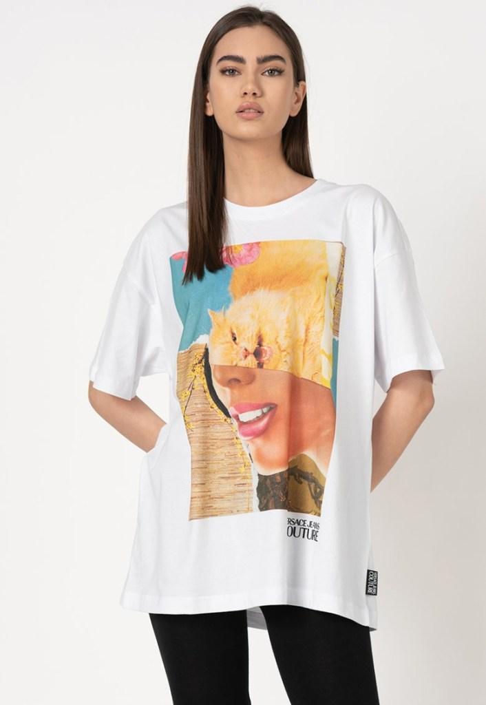 Tricou supradimensionat cu imprimeu grafic Versace Jeans Couture