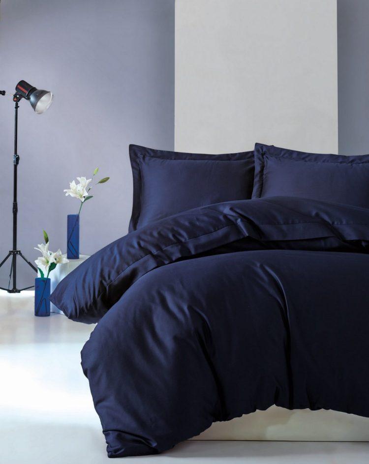 Lenjerie de pat din bumbac Satinat Premium Elegant Bleumarin