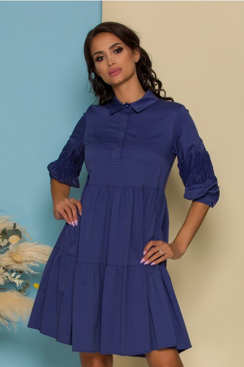 Rochie Dora albastra evazata cu insertii pe maneci