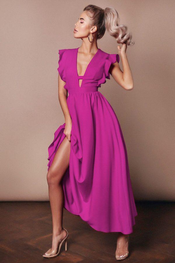 Rochie eleganta si rochie lunga de zi magenta cu decolteu in V si volanase din barbie Teona