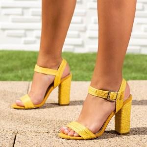 Sandale dama cu toc galbene Risalia