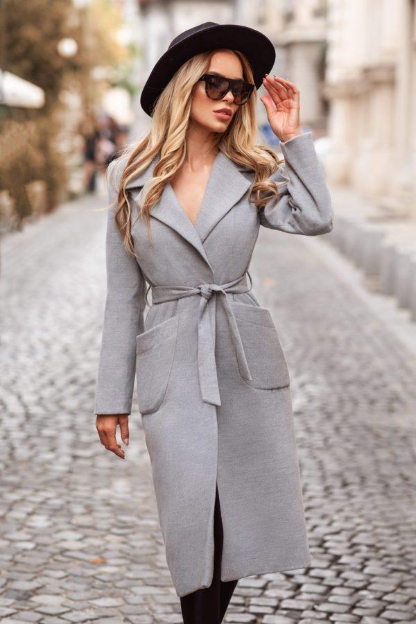 Palton dama gri lung drept cu buzunare din stofa