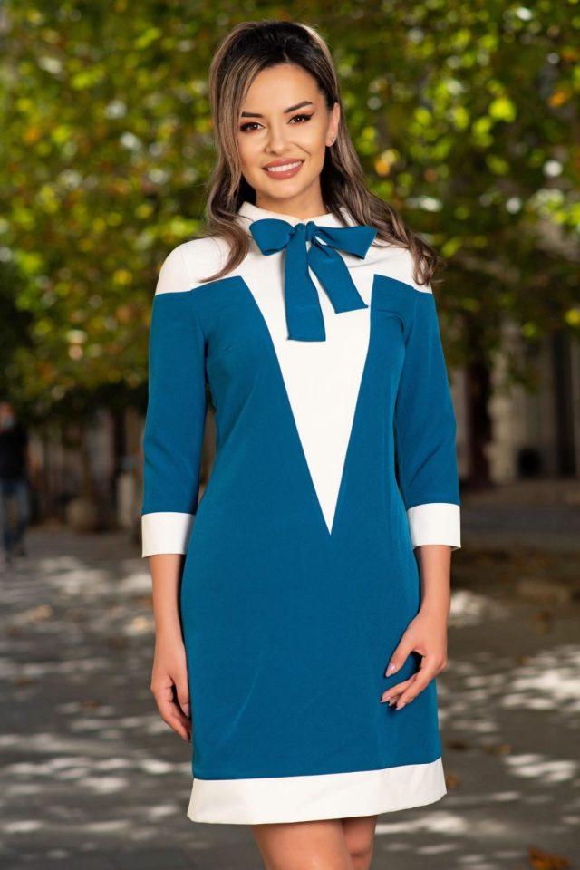 Rochie MBG office albastru cu insertii albe si funda stilizata