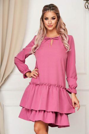 Rochie StarShinerS mov de zi cu croi larg din material usor elastic cu volanase la baza rochiei