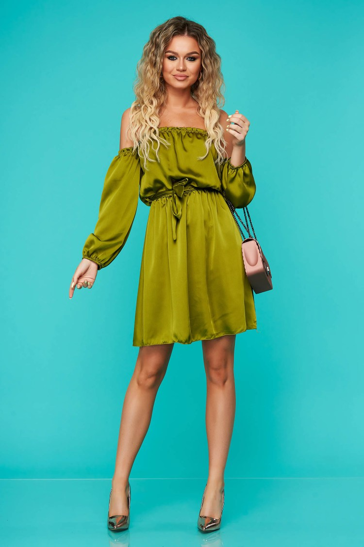 Rochie SunShine verde eleganta clos cu elastic in talie cu umeri goi