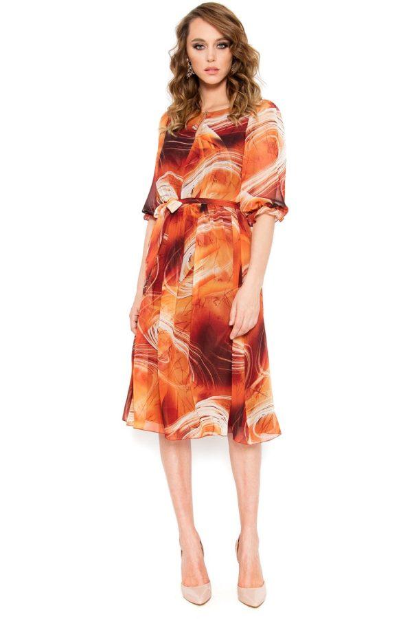 Rochie casual din voal multicolor