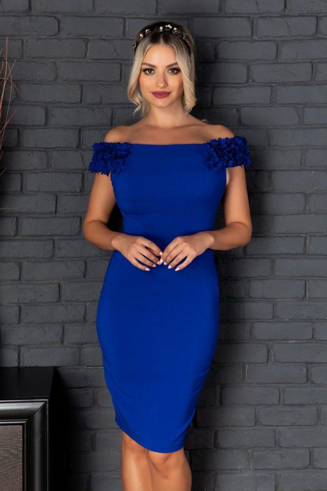 Rochie de ocazie scurta albastra accesorizata cu trandafiri 3D