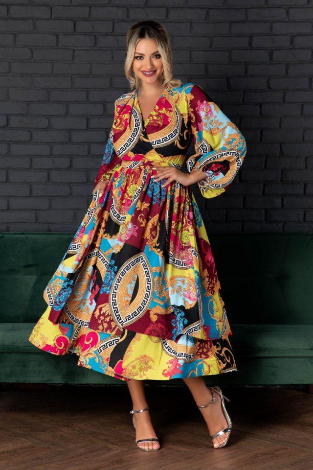 Rochie midi baby doll cu imprimeu multicolor