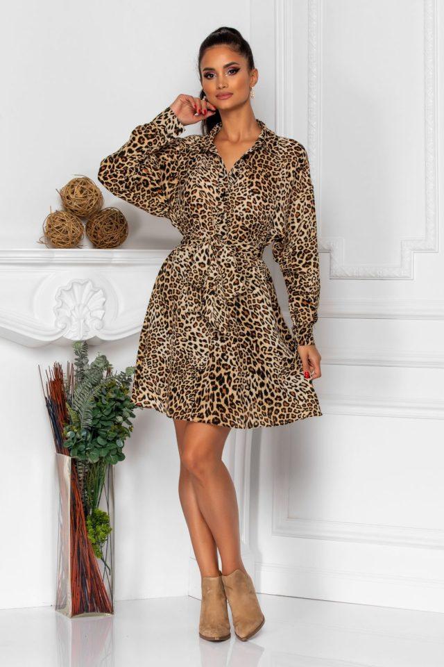 Rochie tip camasa de zi din voal cu animal print
