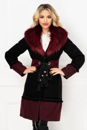Palton La Donna negru cu tesatura deosebita bordo si blanita detasabila