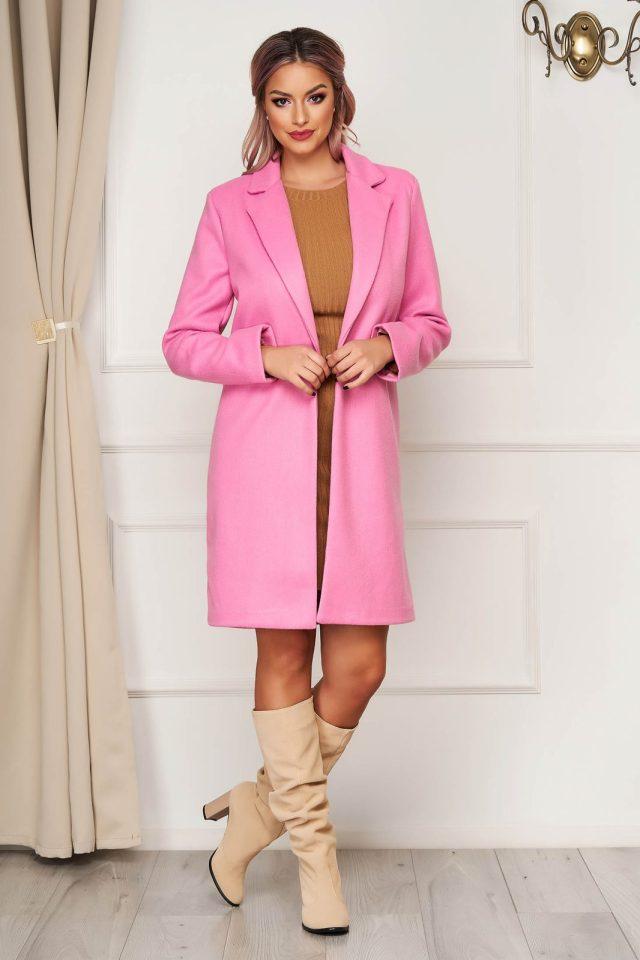 Palton elegant roz office din stofa cu un croi drept si buzunare