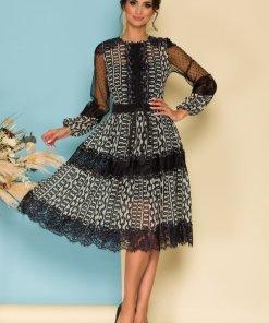 Rochie eleganta Catalin Botezatu cu imprimeu chain si insertii din dantela