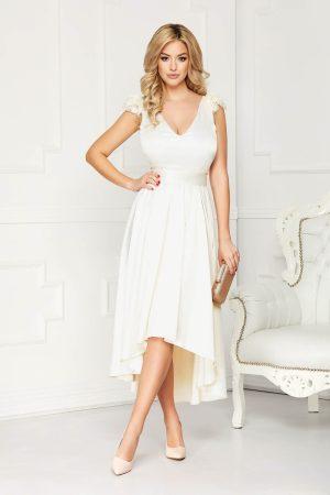 Rochie eleganta de ocazie crem asimetrica in clos din satin cu aplicatii de dantela