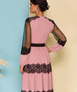 Rochie eleganta in clos Catalin Botezatu roz cu dantela chantilly