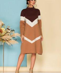 Rochie eleganta maro casual din tricot cu guler inalt
