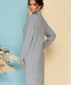 Rochie eleganta midi gri din tricot cu guler pe gat