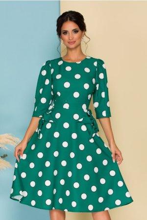 Rochie eleganta midi in clos verde cu buline si fundite la buzunare