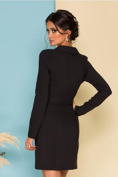 Rochie eleganta neagra tip sacou cu detalii metalice si maneci lungi