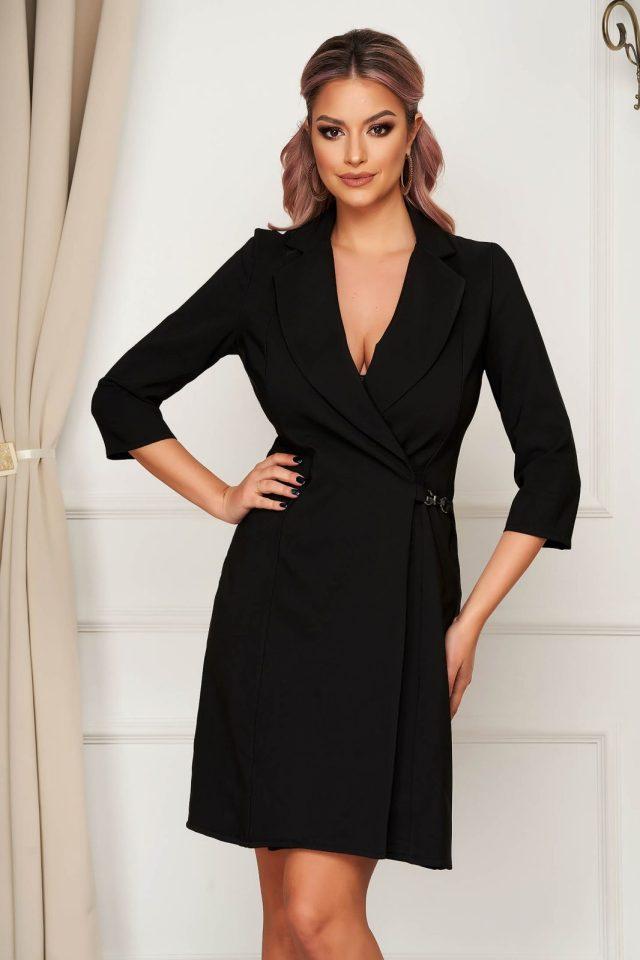 Rochie eleganta scurta neagra cu croi in a petrecuta