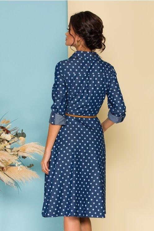 Rochie eleganta tip camasa din denim cu buline si curea in talie