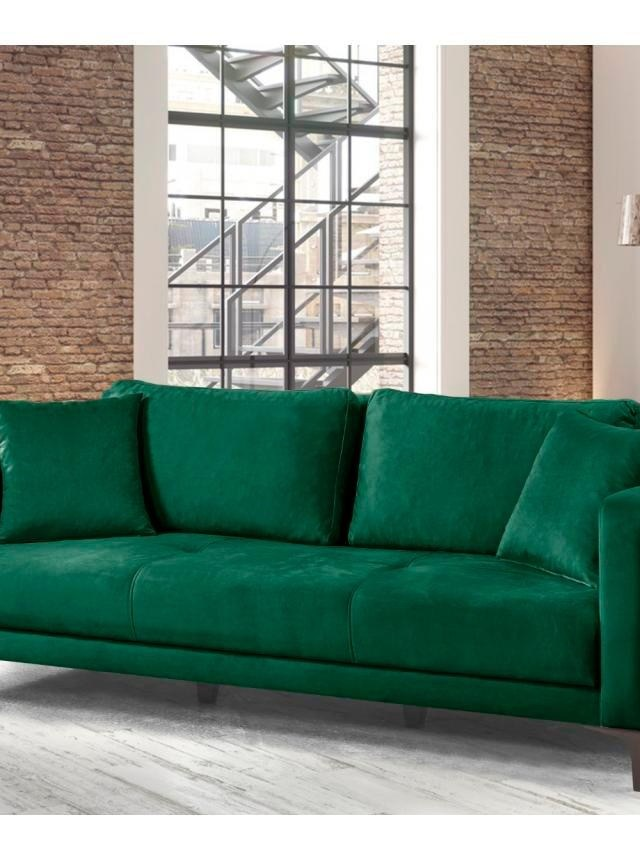 Canapea extensibila 3 locuri Velvet Dark Green