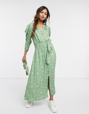 Ghost Shirlie dress in green floral print