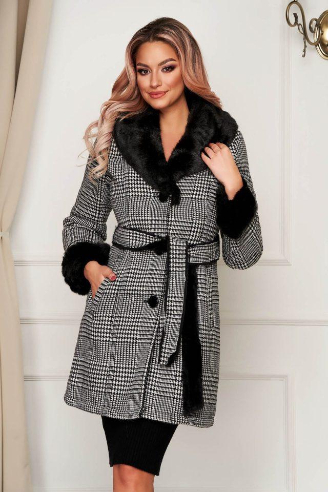 Palton SunShine gri in carouri elegant din lana cu un croi cambrat imblanit