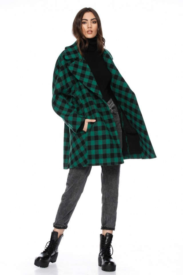 Palton dama scurt oversize in carouri din lana Kelbi