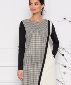 Rochie eleganta in carouri cu maneci negre si insertie de alb in fata