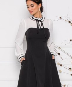 Rochie eleganta neagra cu alb si guler cu snur