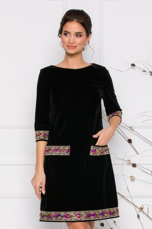 Rochie eleganta neagra cu broderie multicolora la extremitati si buzunare