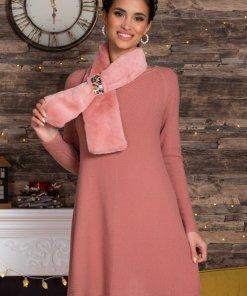 Rochie eleganta roz scurta din tricot cu accesoriu tip fular