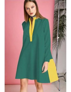 Rochie eleganta verde cu galben Donna