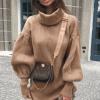 Rochie scurta tip pulovar cu guler Maeva Crem