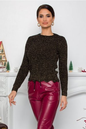 Bluza Ramona neagra cu insertii din fir lurex